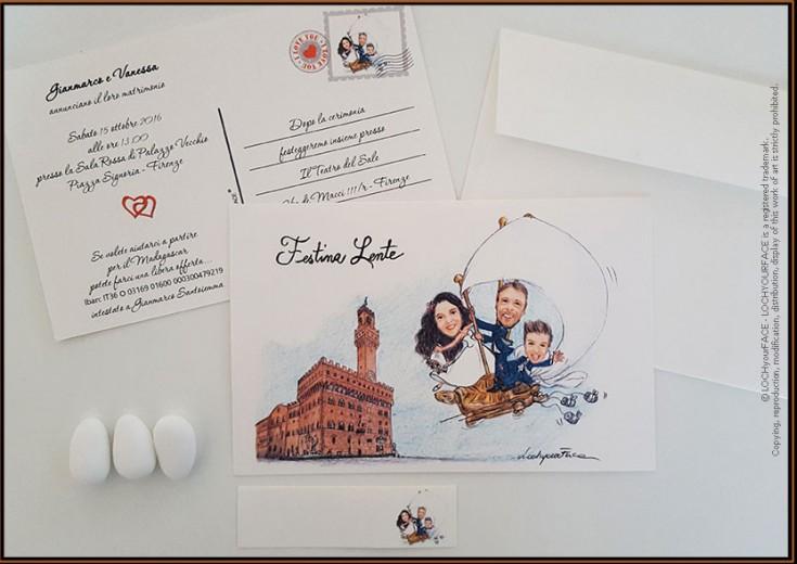 Partecipazioni nozze formato cartolina e bigliettino bomboniera ...