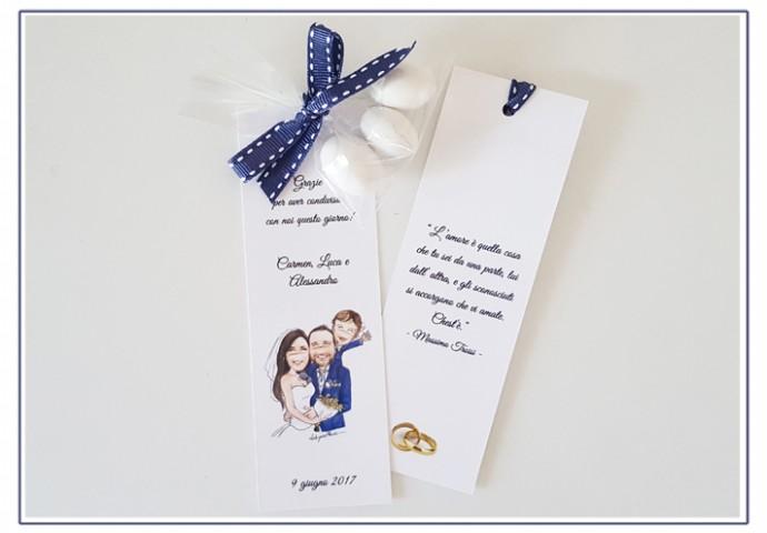 Segnalibro personalizzato con stampa disegno sposi in stile Loch di sposi con bimbo sulle spalle