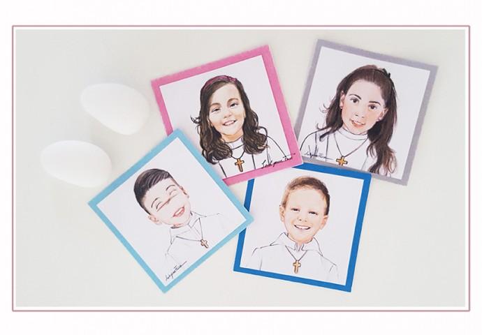 Etichette adesive con stampa disegno bambino-bambina per personalizzare gadget d'interesse