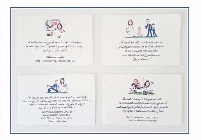 Talloncini inviti personalizzati con disegni sposi nei diversi stili