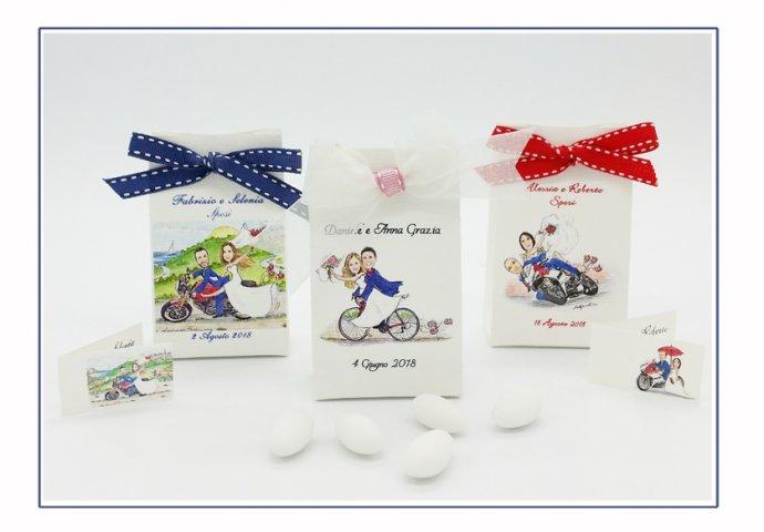 Scatoline porta confetti a sacchetto, personalizzate con scenette  sposi in diversi stili