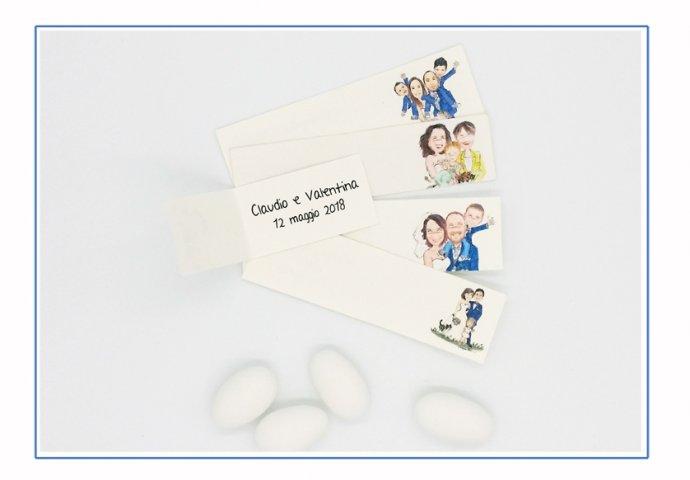 Bigliettini bomboniera personalizzati con stampa disegno sposi e testi da voi forniti