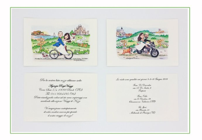 Talloncini inviti personalizzati con disegni sposi e testi da Voi forniti