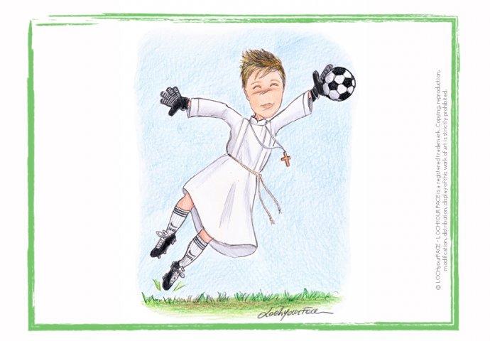 Scenetta in stile Loch di ragazzo in tunica che para la palla da calcio