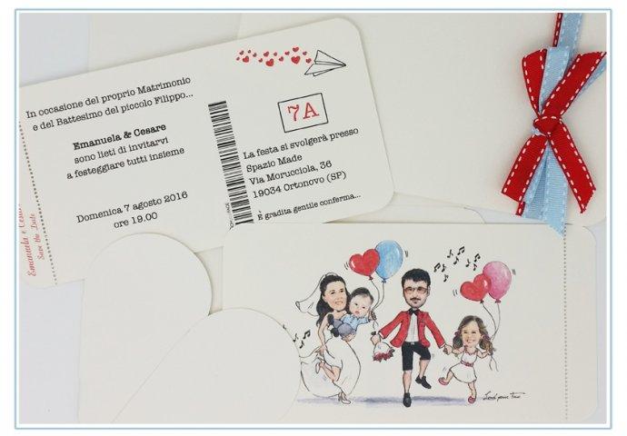 Partecipazione matrimonio voucher con pattella con disegno caricatura fedele di sposi con figli che festeggiano ballando