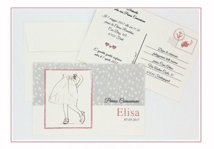 Invito Comunione cod.001 formato cartolina con busta coordinata