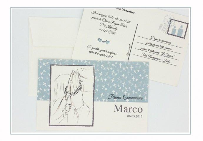 Invito Comunione I Loch You cod.002 formato cartolina con busta coordinata