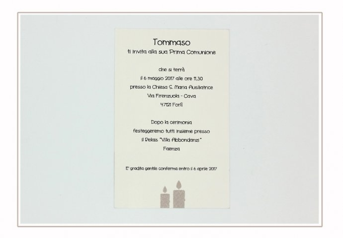 Invito Comunione I Loch You cod.004 formato cartolina (vista retro)