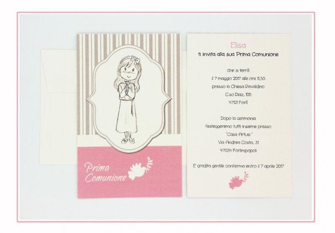 Invito Comunione I Loch You cod.005 formato cartolina con busta coordinata