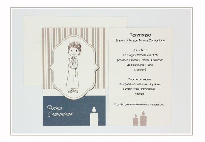 Invito Comunione I Loch You cod.006 formato cartolina con busta coordinata