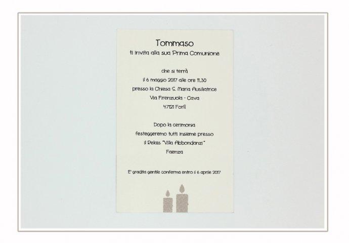 Invito Comunione I Loch You cod.006 formato cartolina (vista retro)