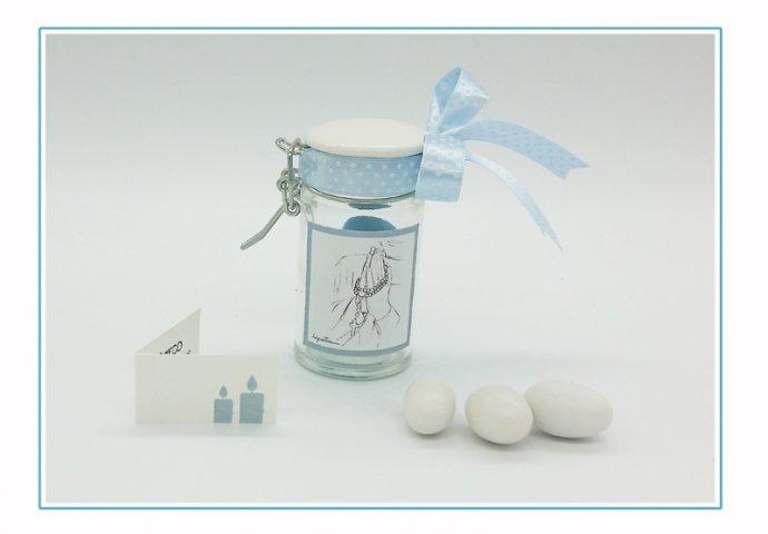 Barattolino di vetro I Loch You cod. 007 completo di etichetta adesiva personalizzata con disegno Fatto a Mano I loch You