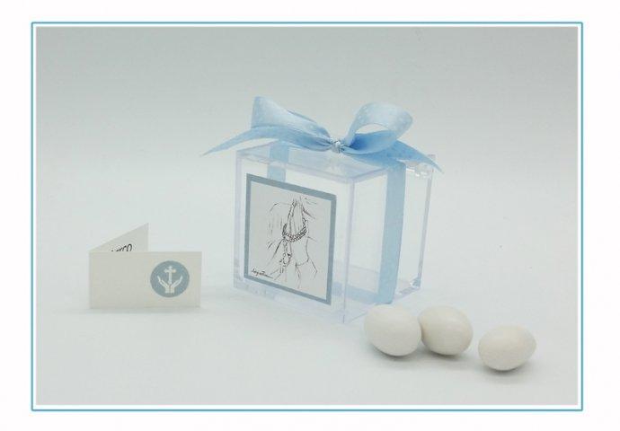 Scatolina in Plexiglas I loch You cod.009 completa di etichetta adesiva 4,3x4,3cm personalizzata con disegno I Loch You