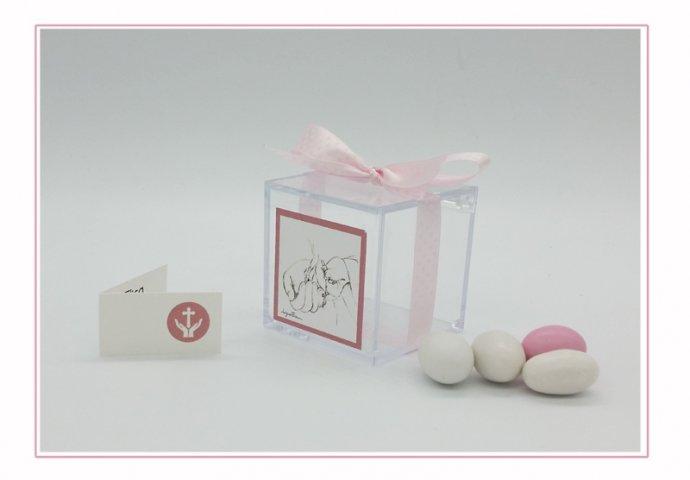 Scatolina in Plexiglas I loch You cod.010 completa di etichetta adesiva 4,3x4,3cm personalizzata con disegno I Loch You