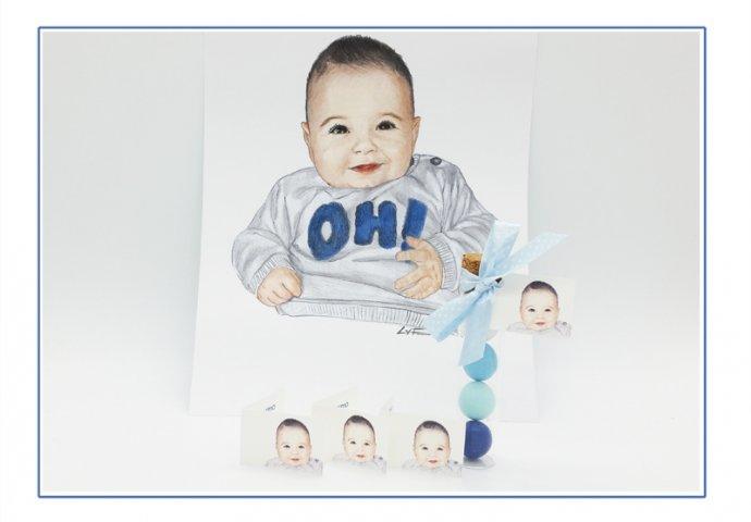 Provetta di vetro porta confetti con bigliettino bomboniera personalizzato con disegno bambino in stile ritratto fedele