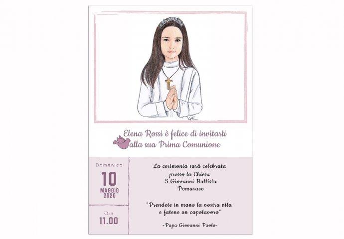 Invito Comunione digitale personalizzato con ritratto fedele di Bambina con saio e mani congiunte