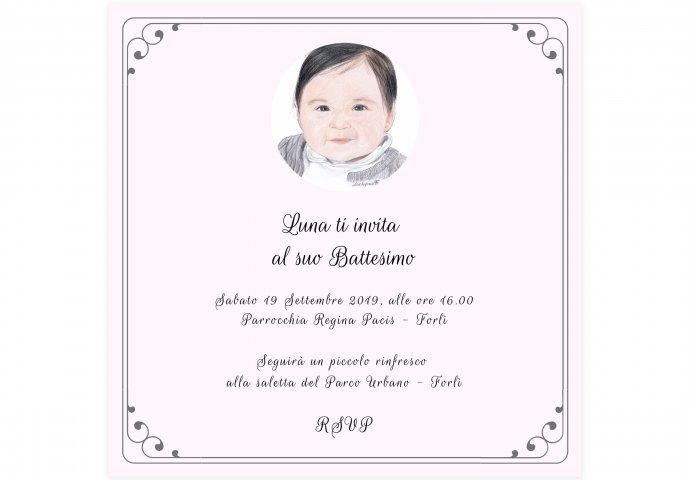 Invito Battesimo Digitale personalizzato con ritratto fedele bimba
