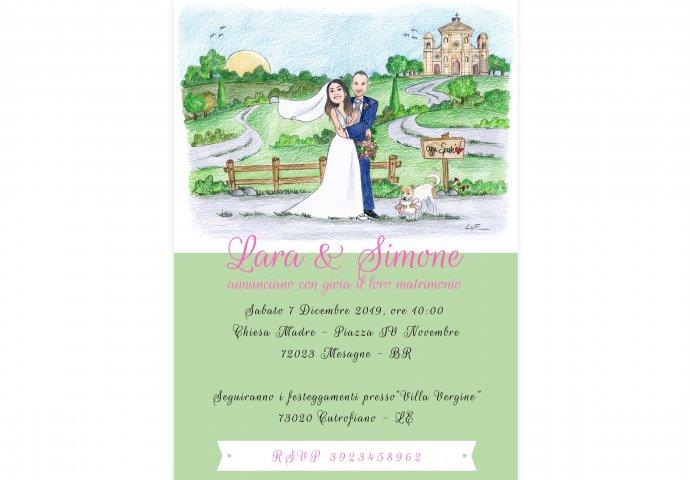 Invito formato digitale rettangolare personalizzato con disegno sposi e testi