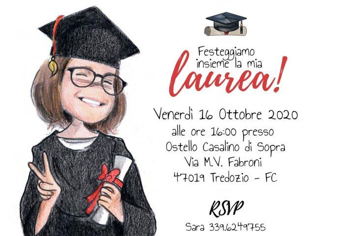 Invito di Laurea in formato digitale personalizzato con il disegno e i testi