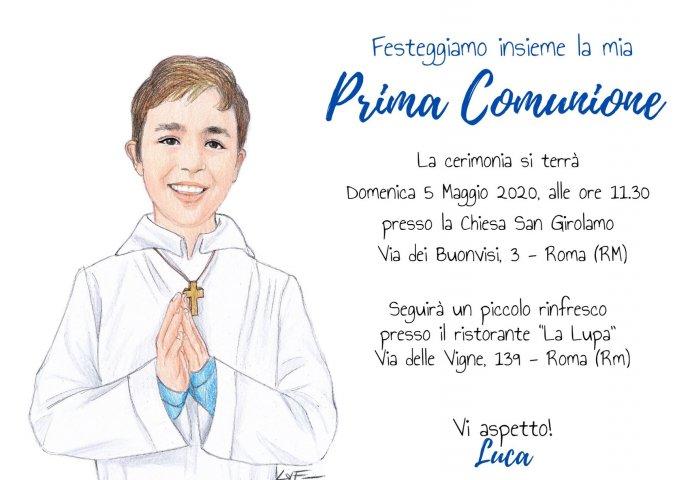 Invito Comunione digitale personalizzato con ritratto fedele di Bambino con saio e mani congiunte