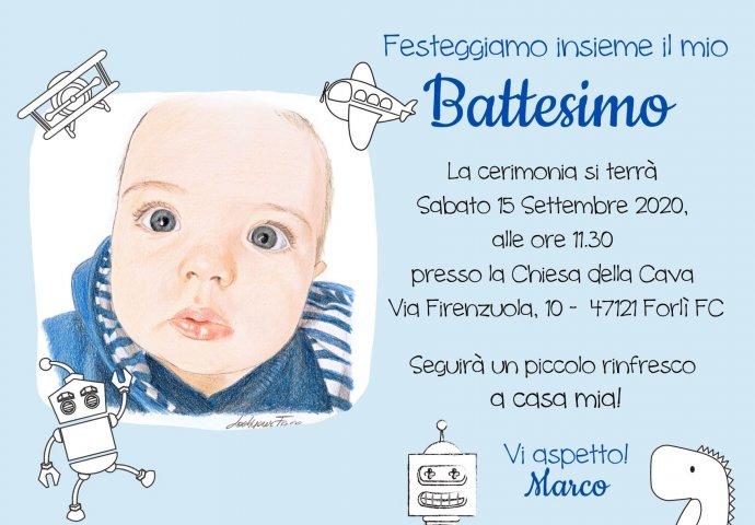 Invito Battesimo Digitale personalizzato con ritratto fedele bimbo