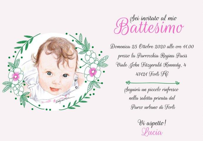 Invito Battesimo Digitale in stile provenzale personalizzato con ritratto fedele bimba