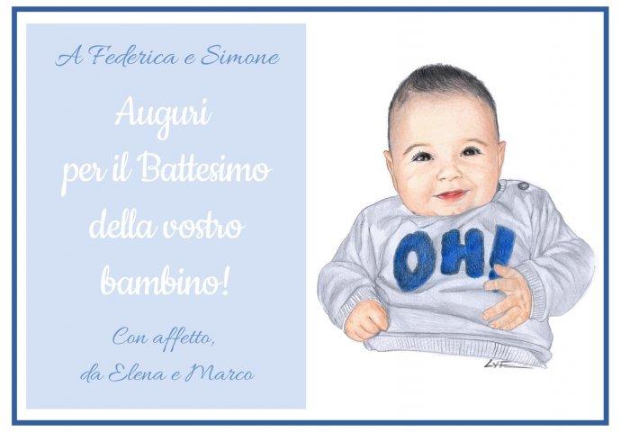 Biglietto d'Auguri per il Battesimo in formato Digitale personalizzato con ritratto fedele bimbo