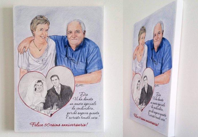 Tela 70x50 con stampa Disegno Fedele per anniversario di Nozze 50 anni