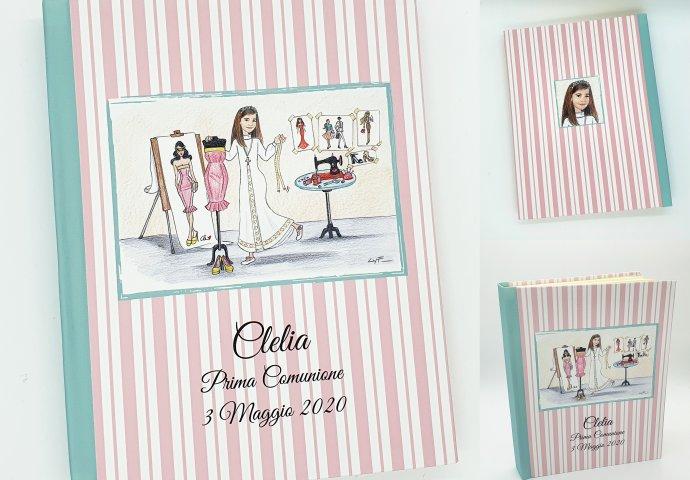 Album porta foto in tessuto personalizzato con disegno bambina in stile caricatura fedele