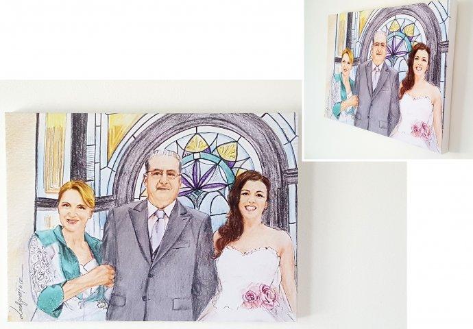 Tela 50x70 con stampa Disegno Fedele di sposa con genitori per anniversario  di Nozze