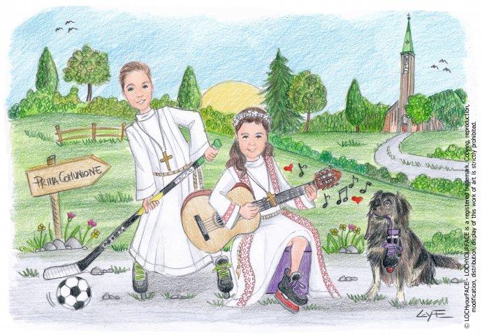 Scenetta caricatura fedele di fratelli con la tunica insieme al loro amico a 4 zampe. Il fratellino gioca ad Hokey e la sorella suona la chitarra. Nello sfondo la loro Chiesa