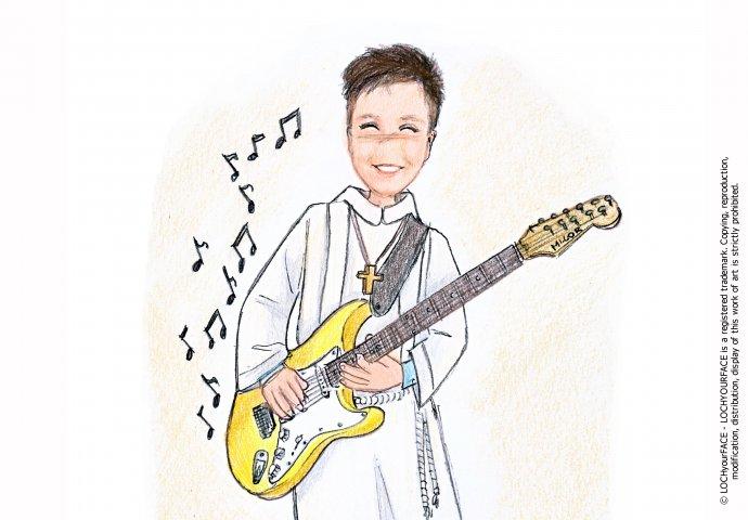 Scenetta in stile Loch di ragazzo in tunica che suona la chitarra elettrica