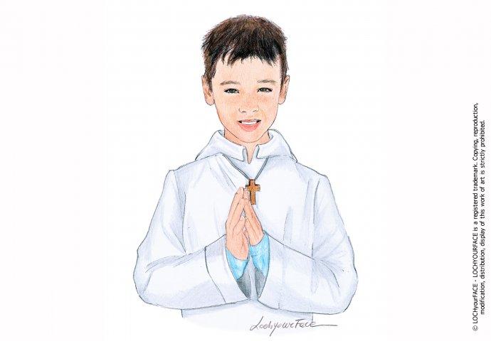 Disegno ritratto fedele per comunione bambino
