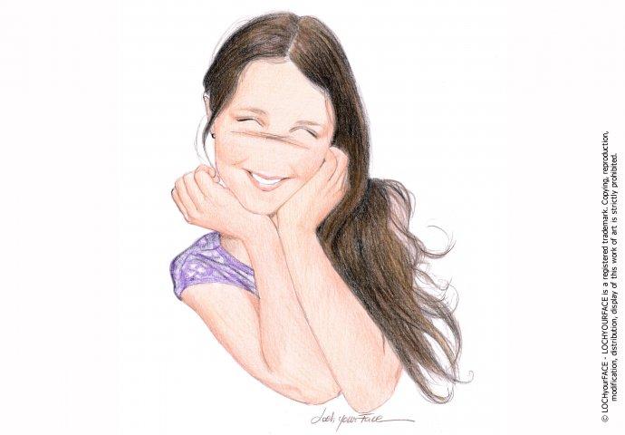 Disegno ritratto in stile Loch per comunione bambina