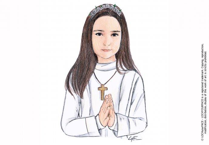 Disegno ritratto fedele per comunione bambina
