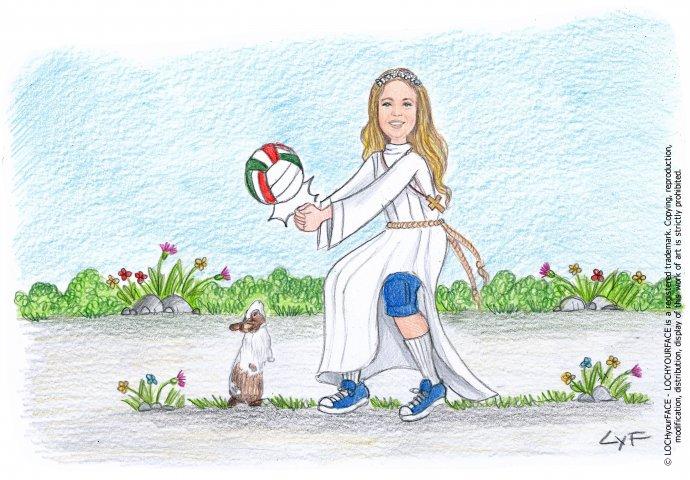 Scenetta caricatura fedele di bambina con la tunica che gioca a pallavolo insieme al suo coniglietto.