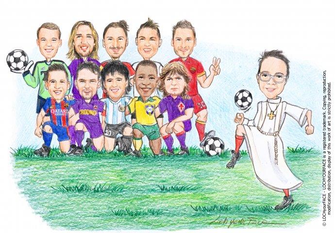 Scenetta caricatura fedele di bimbo con la tunica che palleggia insieme alla squadra formata da campioni del calcio