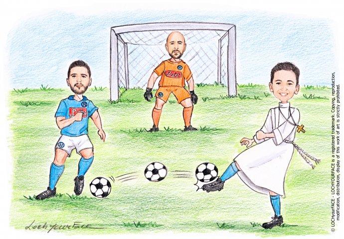 Scenetta caricatura fedele di bimbo con la tunica che palleggia la palla insieme ai suoi idoli del calcio