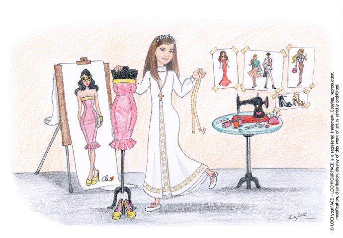 Scenetta caricatura fedele di bambina con la tunica mentre allestisce un manichino. Nello sfondo i suoi figurini