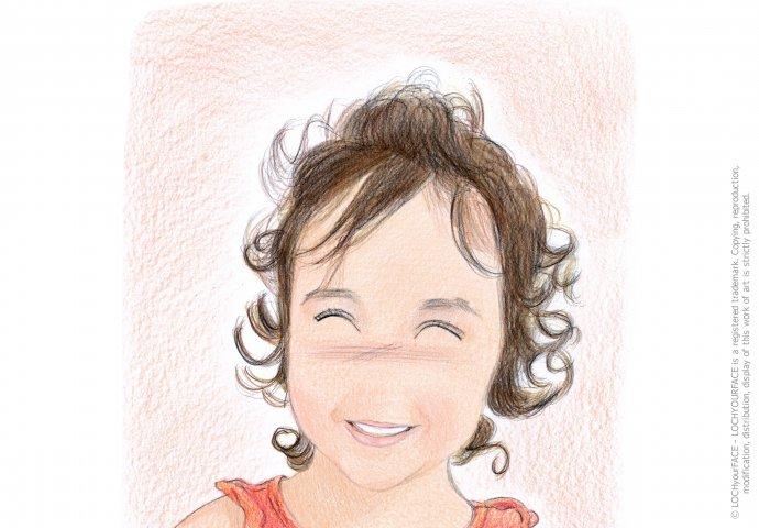 Disegno ritratto in stile Loch di bambina, realizzato per regalo di compleanno
