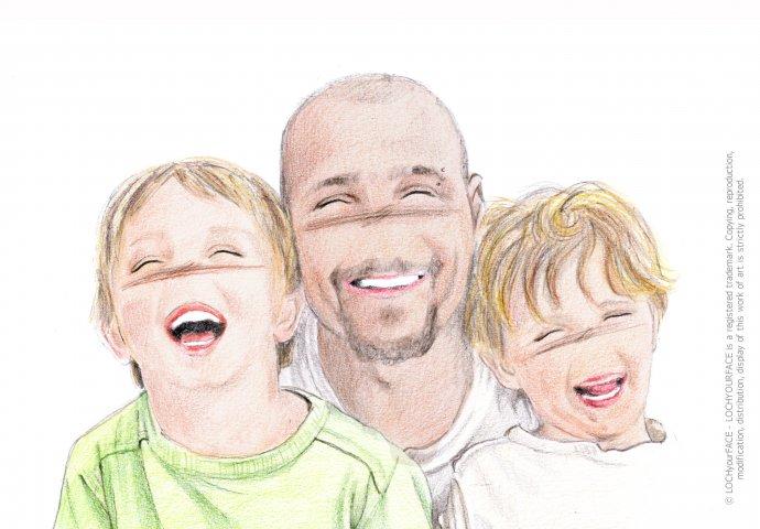 Disegno ritratto in stile Loch di padre con figli, realizzato per personalizzare tela d'arredo