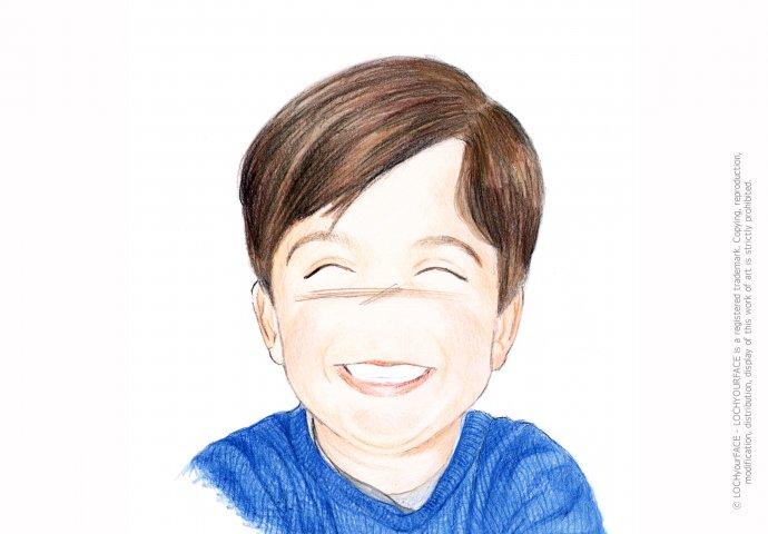 Disegno ritratto in stile Loch di bambino, realizzato per regalo di compleanno