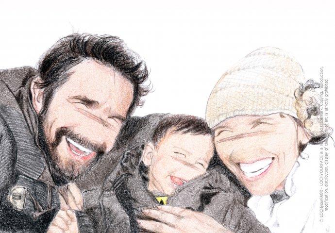 Disegno ritratto in stile Loch di famiglia, realizzato per personalizzare borsa tracolla