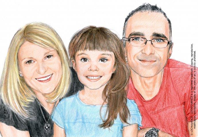 Disegno ritratto fedele famiglia realizzato per personalizzare una stampa ad'arredo