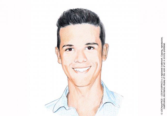 Disegno ritratto fedele ragazzo realizzato per personalizzare un invito di compleanno 18anni