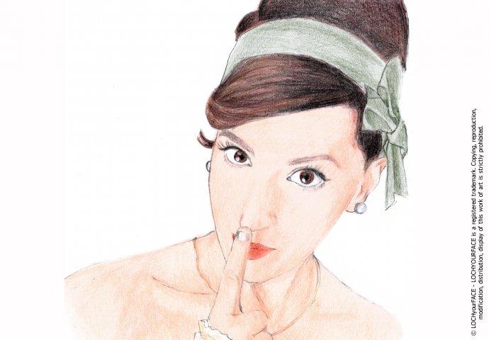 Disegno ritratto fedele di ragazza realizzato per personalizzare una stampa ad'arredo