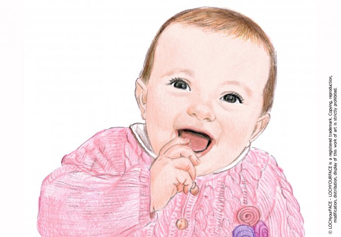 Disegno ritratto fedele bimba piccola realizzato per personalizzare un invito battesimo