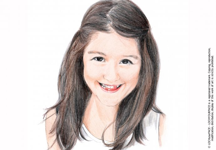 Disegno ritratto fedele bambina di 10 anni realizzato per personalizzare la cover del cellulare