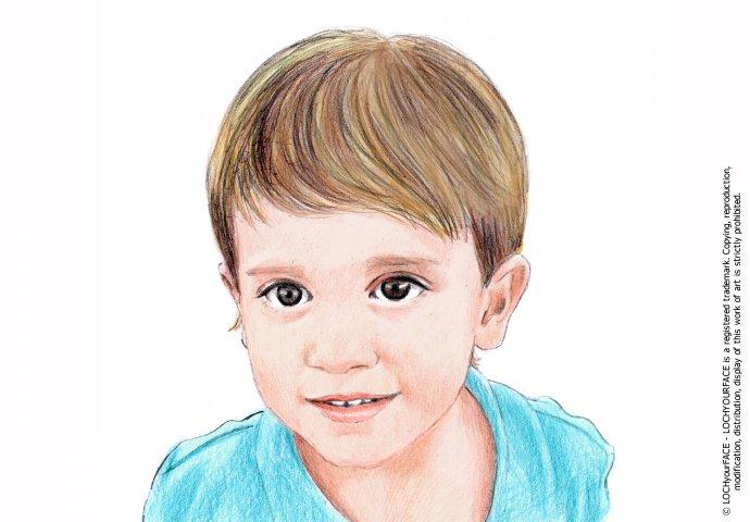 Disegno ritratto fedele bambino 8 anni realizzato per personalizzare una stampa ad'arredo