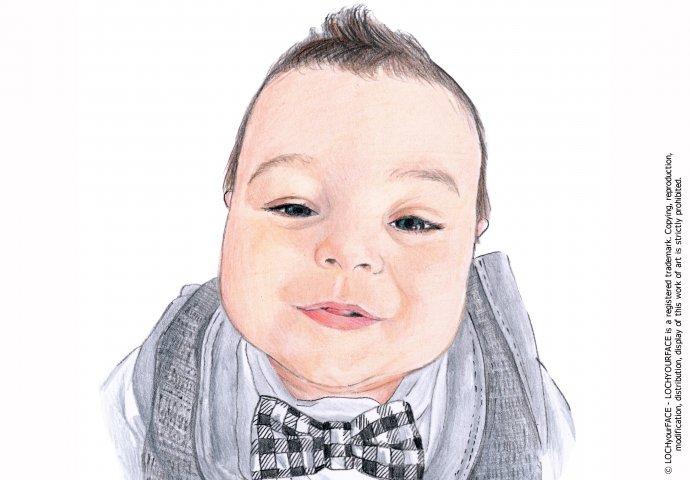 Disegno ritratto fedele bambino piccolo realizzato per personalizzare un invito battesimo